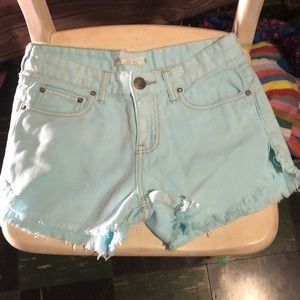 Free People size 24 light blue cut off shorts